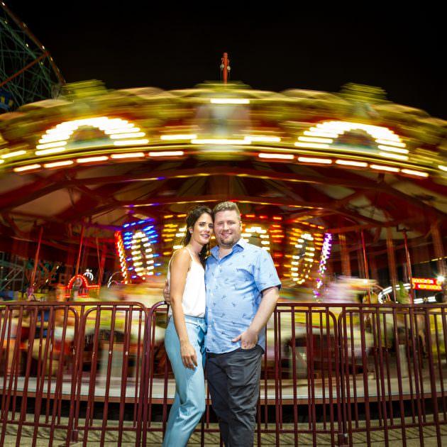Couple at a theme park